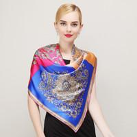 bufandas azul real mujeres al por mayor-Venta al por mayor-moda Royal Style Blue Pink bufanda de seda Nueva Europa América Marca Grandes bufandas cuadradas de lujo estampado en caliente bufanda de las mujeres chal