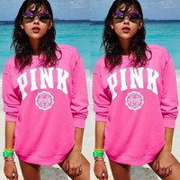 Wholesale Woman Sportswear Wholesale - Pink Letter Print Women Cotton Hoodies VS Pink Autumn Sportswear Sweatshirts VS Harajuku Tracksuit Long Sleeve Pullover LJJO2277