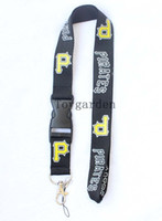 Wholesale Wholesale50PCS MLB Pittsburgh Pirates Plain Lanyard Keychain ID card holder cell phone holder Neck strap