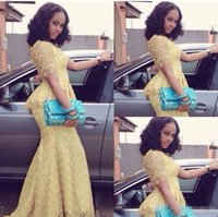 Wholesale One Piece Shirts For Women - Aso Ebi Style Light Yellow Full Lace Mermaid Prom Dresses 2017 Jewel Neck Short Sleeves Plus Size Vestidos Evening Occasion Gowns For Women