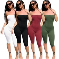 Wholesale red spandex jumpsuit - 2018 summer leggings slimming new thin pants 4 color sexy breast jumpsuit size s-xl free shipping
