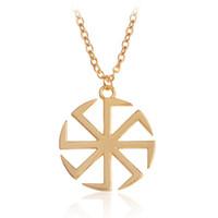 Wholesale Love Amulet Pendant - Dawapara Slavic Kolovrat Amulet Pendant Necklace Silver Gold Sun Talisman Pagan Necklaces Friend Boy Ethnic Fashion Men Jewelry