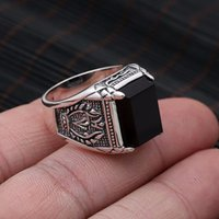 Wholesale Pure Stone Silver Ring - ewelry findings Black Obsidian Ring Vintage 100% Real Pure 925 Sterling Silver For Mens With Natural Stone Genuine Fine Jewelry Rock Fash...