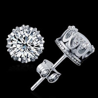 New Crown Wedding Stud Earring 2017 Novo 925 Sterling Silver Simulated Diamonds Engagement Bela jóia Earrings Earrings de cristal
