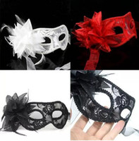 Wholesale Red Masks Feathers - sexy Black white red yellow purple Women Feathered Venetian Masquerade Masks for a masked ball Lace Flower Masks 5 colors 20 pcs free shippi