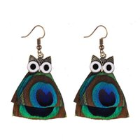 2017 Design Spécial Cute Animal Owl en forme de plume Dangle Boucles d'oreilles Énoncé Bijoux Green Bohemian Drop Earrings Pour Femmes