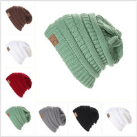 Wholesale Trendy Baseball Hats - Winter Trendy Warm Hat Knitted CC Women Simple Style Chunky Soft Stretch Cable Men Knitted Beanies Hat Beanie Skully Hats Colors