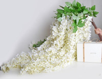 HOt venda Elegant branco Artificial Silk Flower Wisteria Vinha Rattan Para Wedding Centerpieces Decorações Bouquet Garland Home Ornament