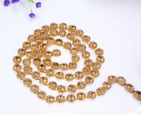 Wholesale Topaz Sew Rhinestones - Free shippment Flower Crystal rhinestone gold tone chain topaz stone costume applique trims sewing for garment 12mm 1yards lot