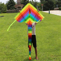 Wholesale Outdoor Toys Rainbow Kite Without Flying Tools Kids Outdoor Fun Sports Kite Long Tail Patchwork Children Triangle Color Kite Easy Fly