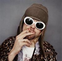 Wholesale Retro Women Shades - 19colors NIRVANA Kurt Cobain Sunglasses Retro Vintage Oval Sun glasses Men Women Punk Rock Shades round Eyewear R006