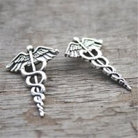 Wholesale Medical Snake - 30pcs--Antique Tibetan silver Caduceus Medical Symbol Mercurial Staff with Wings Snakes Charms 30x20mm