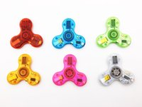 Wholesale New Crystal Bluetooth Audio Fidget Spinner Toys Hand Spinners LED Light USB Charger Switch Button EDC Finger Decompression Anxiety Toy