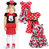 Wholesale Kids Big Tutu Dresses - 2017 New summer kids girl Big Points Mickey Mouse Minnie printing cartoon short-sleeved dress 3style
