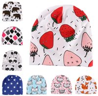 Wholesale 2016 Kids INS Cotton Hats Baby Cotton Printing Hats For Baby Boy Girl Infant Cotton Beanie Autumn Winter Kids Caps styles