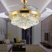 Wholesale Fan Light Kits - Modern Crystal Invisible Ceiling Fan Light Kit for Living Room Bedroom 42 Inch Gold 4 Telescopic Blades Fan Chandeliers Lighting Fixture