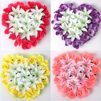 Wholesale Dried Lily Flower - 5pcs Artificial Silk Rose& Lily Heart Arch Frame In a row Decorative Wedding Road Led Flower Wedding Props