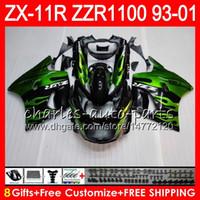 Wholesale 1997 kawasaki ninja for resale online - 8Gifts For KAWASAKI NINJA ZX11 ZX11R ZZR HM11 green flames ZZR1100 ZX R ZX Fairing