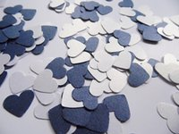 Wholesale Scatter Confetti Navy - Wholesale- Navy Blue and White Heart Confetti, Wedding Reception Decoration, Table Scatter, Paper Confetticft