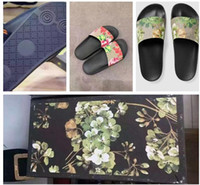 Wholesale Moccasins - Fashion slide sandals slippers for men and women WITH BOX 2017 Hot Designer flower printed unisex beach flip flops slipper BEST QUALITY