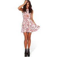 kleid schädel frauen großhandel-Halloween Party Kleid Frauen Kürbis Schädel Blut Tropfen Gedruckt Design Kleider Kleidung Cosplay Dressing