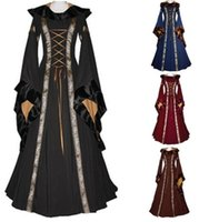 Wholesale Costumes Carnival Medieval - Vintage Style Gothic Dress Floor Length Women Cosplay Dresses Retro Long Medieval Dress 4 Colors S-XXL