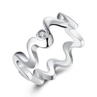 Wholesale Sterling Silver Code 925 - Free shipping Wholesale 925 Sterling Silver Plated Fashion Inlaid stone ripple ring -8 code Jewelry LKNSPCR029-8