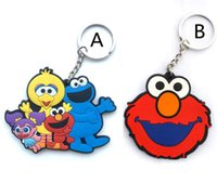 Wholesale Elmo Boys - 20pcs lot Sesame Street figure keychain ELMO   BIG BIRD   COOKIE MONSTER cartoon sided pattern pendants kids gift free shipping
