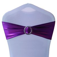 Wholesale Spandex Chair Cover Buckles - Chair Sash Bands Spandex Elastic Chair Cover Sashes Bows Buckle Sashes for Weddings Party Home Party Supplies JM0306