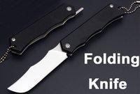 Wholesale Utility Knife Keychain - Wholesale G10 Handle 4.5 Inch Closed Folder EDC Keychain Folding Knife 7CR Plain Edge Pocket Daily Need Utility Razor Gift Knives B196Q