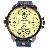 Wholesale Oversized Men Quartz - Luxury Oversized watch Date Multiple Time Zones Quartz Four Movement Canvas Band Men watch