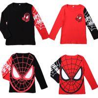 spiderman hemden großhandel-heiße verkaufende große Förderungjungenmädchen spiderman Hoodies langärmelige T-Shirts swearshirts Art und Weiseart oberste zufällige Sport outwear 3-8T