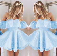 ingrosso abiti di promenade blu di ghiaccio-Vintage New Short Homecoming Prom Dress Applique in rilievo di moda Ice Blue Off spalla Cocktail Party abiti su misura