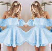 Wholesale ice blue party dresses for sale - Group buy Vintage New Short Homecoming Prom Dress Lace Applique Beaded Fashion Ice Blue Off Shoulder Cocktail Party Gowns Custom Made