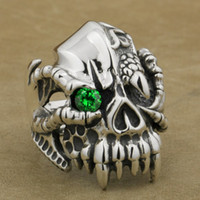 LINSION 925 Sterling Silver Dragon Claw Round Green CZ Eye Mens Biker Rock Punk Skull Ring 9M202 US Taille 7 à 15