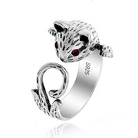 Wholesale Retro Cat Ring - Retro Slver Ring Cartoon Animals Fashion Classic Silver Cat Ring Retro Crystal Jewelry Silver Plated Elegant Vintage Rings For Women