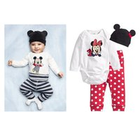 Wholesale Mouse Animal Hat - Kids Clothing Set Mickey Mouse Print Baby Clothes for Boys Girls Romper Pants Hat Boutique Children Fashion Spring Fall Toddler Outfits New