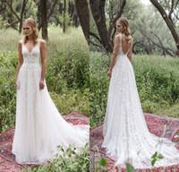 Wholesale Low Back Chiffon Wedding Gowns - Limor Rosen 2017 Sexy Sheer Wedding Dresses V Neck Full Lace Low Back Wedding Gowns Cheap Beach Bridal Gowns