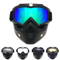 Wholesale Vintage Motorcycle Glasses - 2016 Ski Bike Motorcycle Face Mask Goggles Motocross Motorbike Motor Open Detachable Goggle Helmets Vintage Glasses Universal free Shipping