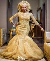 ingrosso abiti tradizionali delle donne-Glamorous Gold Mermaid Lace Abiti da sposa per la Nigeria Donne tradizionali africane convenzionali Abiti da sposa Abiti da Noiva