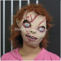 Wholesale Chucky Latex Mask - Wholesale- Bride of Chucky Mask Horror Film Theme Creepy Scary Latex Female Male Masks Halloween Cosplay Adult Full Face Free Shipping