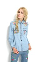 Beste Qualität Frauen Musik Festival Foral Stickerei Jeans Blusen Long-Sleeve Denim Shirt Fashion Tops Chemise Femme 2411030