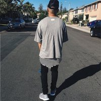 Wholesale Loose Side Shirts - Fear Of God T Shirt 2018SS Justin Biebe Loose Design Solid Color FOG T-shirts Skateboard Hip Hop Sided Wear Fear Of God T-Shirt