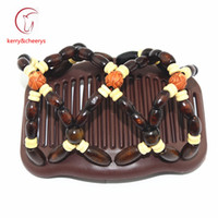 Wholesale Wooden Hair Double Combs - new arrival wooden double magic elastic beaded 20 pcs lot hair bows combs free shipping