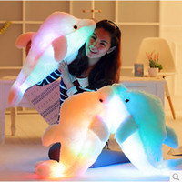 Wholesale Girls Beat - Wholesale-Led Light Cushion Pink Cute Dolphin Stuffed Plush Doll Toy Girl Birthday Gift Rainbow Color Beat To Grow 45Cm