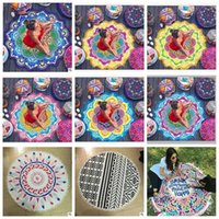 Wholesale Children Picnic Blanket - Round Mandala Beach Towel Tassel Tapestry Hippie Boho Tablecloth Bohemian Shawl Sunbath Bikini Wrap Yoga Mat Picnic Blanket CCA5656 10pcs