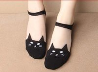 Wholesale Socks Low Ankle - girls low cut socks transparent Cute print cat head harajuku women summer funny animal low cut ankle ice silk floor invisible boat socks