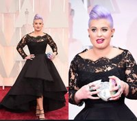 Wholesale Cap Sleeved Party Gowns - 2017 Oscar Kelly Osbourne Celebrity Dress Long Sleeved Lace Scallop Black High Low Red Carpet Sheer prom Dresses Party Ball Gown Cheap