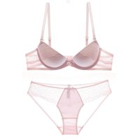 Wholesale Push Up Bra Thick - 5 colors French romantic lace thick thin cup female fashion intimates sexy glaze underwear set push up women bra and panty set