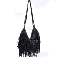 Wholesale Genuine Leather Fringe Handbags - Wholesale-2016 Fashion 100% Genuine Leather Tassel Bags Fashion Women Shoulder Bag Fringe multicolor Patchwork Handbags casual beach bags